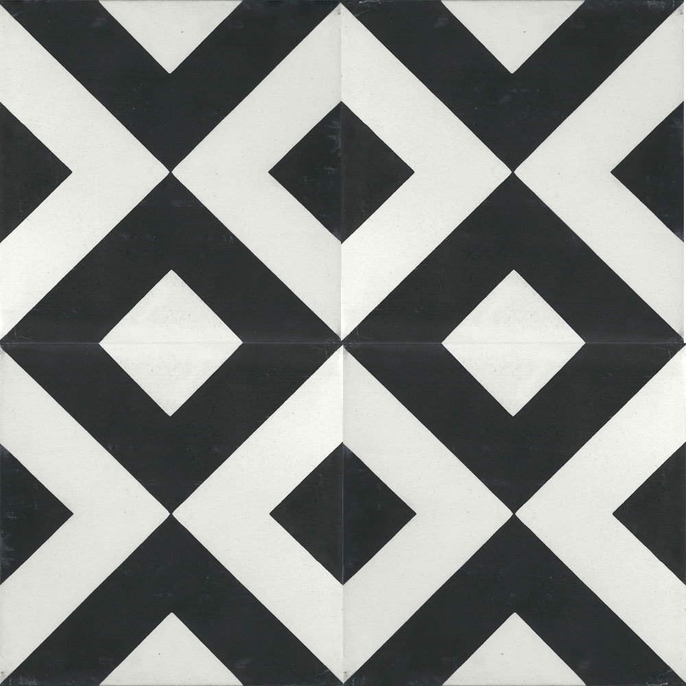 8x8 Large Box Black White Cement Tile